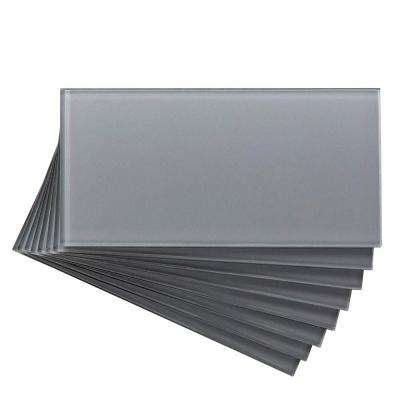 3 in. x 6 in. Glass Decorative Wall Tile in Steel (8-Pack)