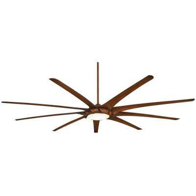 Ninety-Nine 99 in. Integrated LED Indoor Distressed Koa Ceiling Fan with Light with Remote Control