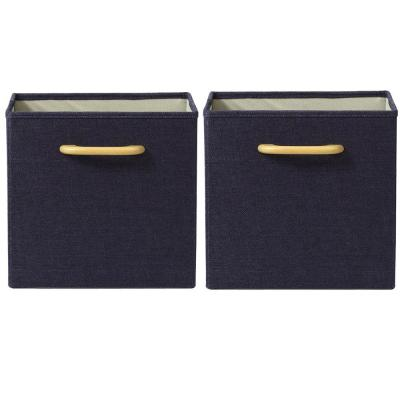 Collapsible Dark Blue Bins with Handles (Set of 2)