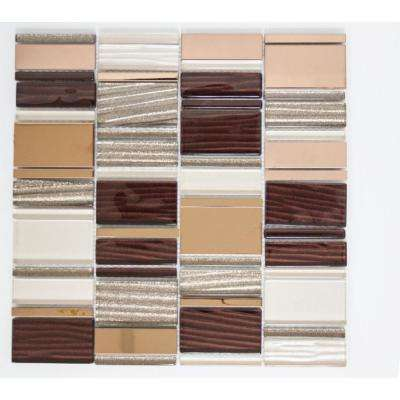 12 in. x 12 in. x 8 mm Tile Esque Brown Bronze Modern Rectangle Mesh-Mounted Mosaic Tile