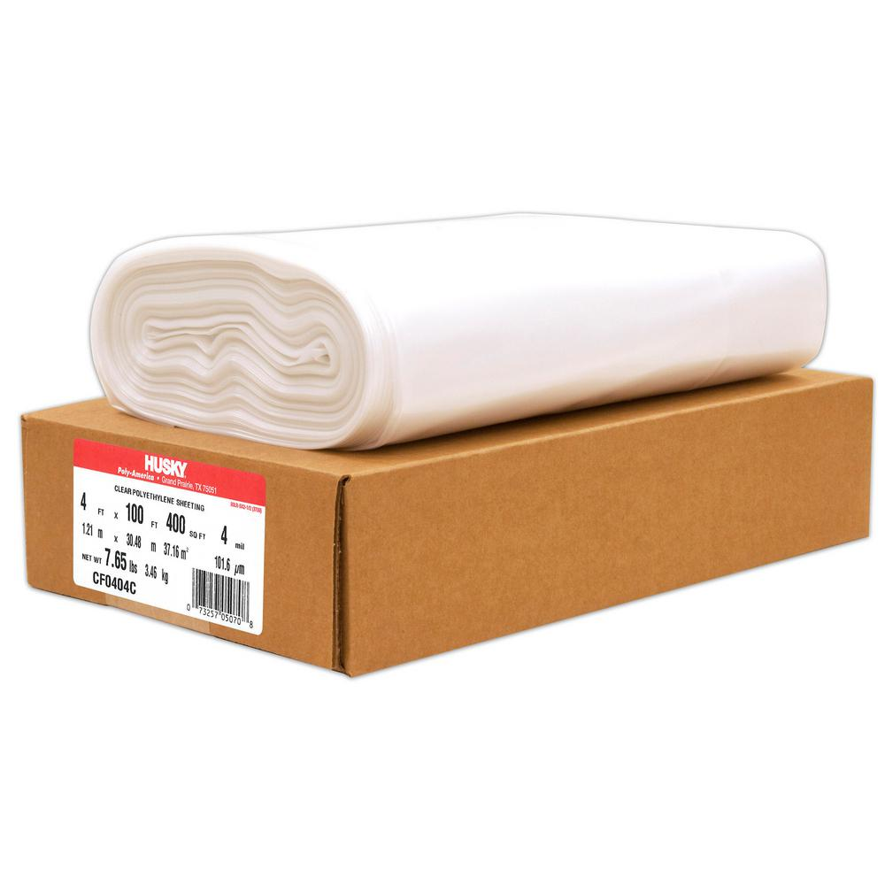 HUSKY 4 ft. x 100 ft. Clear 4 mil Plastic Sheeting