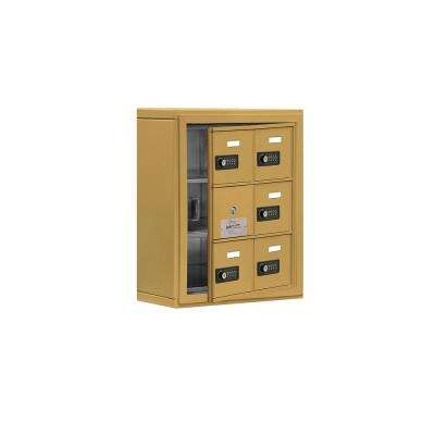 19100 Series 17.5 in. W x 20 in. H x 6.25 in. D 5 Doors Cell Phone Locker S-Mount Resettable Locks in Gold