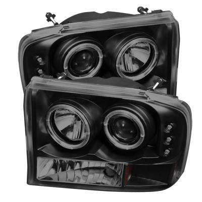 Ford F250 Super Duty 99-04 / Ford Excursion 00-04 1PC Projector Headlights - Version 2 - LED Halo - LED - Black Smoke