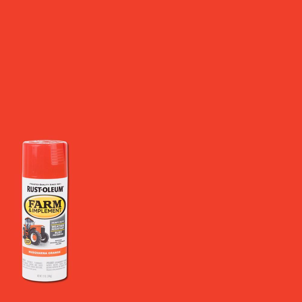 RustOleum Rust-Oleum 12 oz. Farm Equipment Gloss Husqvarna Orange Enamel Spray Paint (6-Pack)