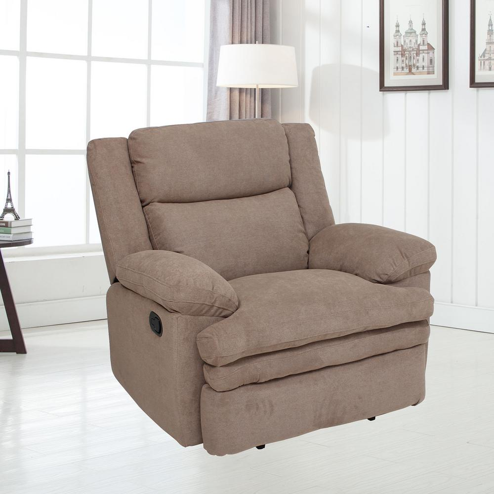 Ebello Home Furnishings Home Rockford Smoke Grey Fabric Recliner M3038ar The Home Depot