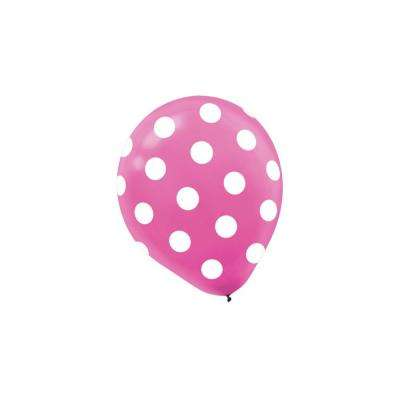 12 in. Bright Pink Polka Dots Latex Balloons (6-Count, 9-Pack)