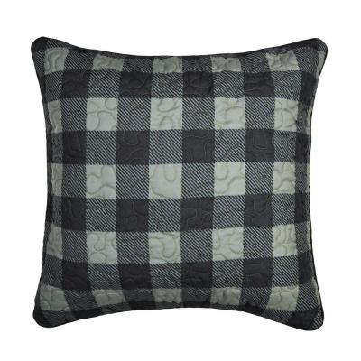 Bear Walk Plaid Black, Green Polyester 18 in. x 18 in. Square Throw Pillow