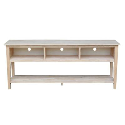 International Concepts 72 in. Unfinished Wood TV Stand Fits TVs Up to 72 in. with Cable Management