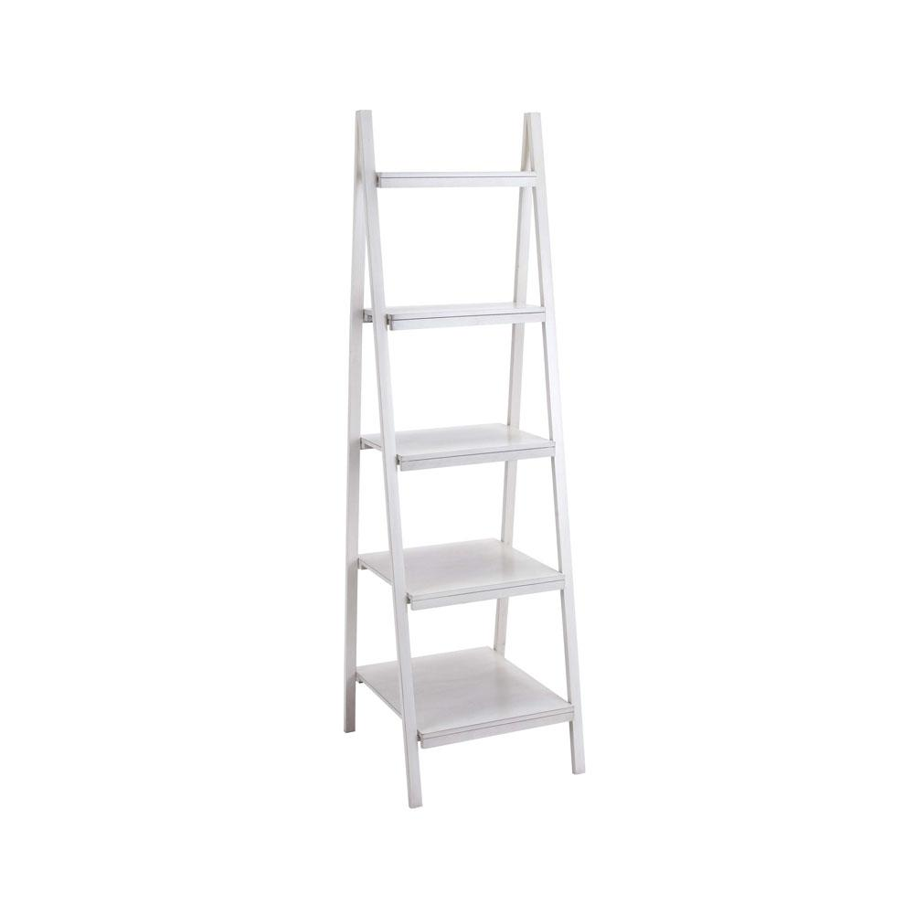 Antique White 4-Tier Ladder Bookcase