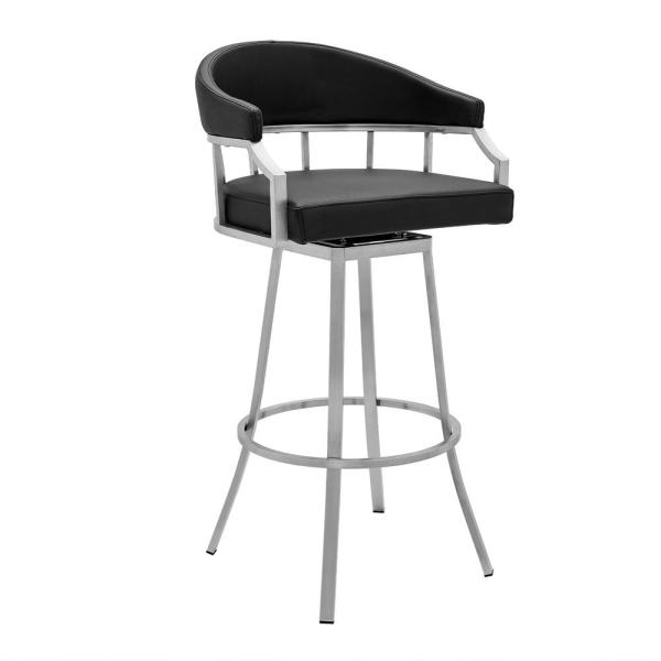 Palmdale Brushed Stainless Steel Swivel Modern Faux Leather Bar and Counter Stool