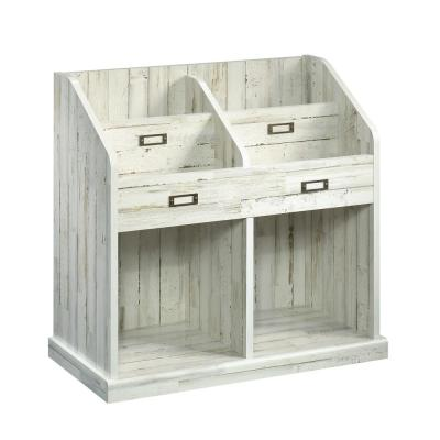 28.25 in. White Plank Faux Wood 6-shelf Accent Bookcase with Cubes
