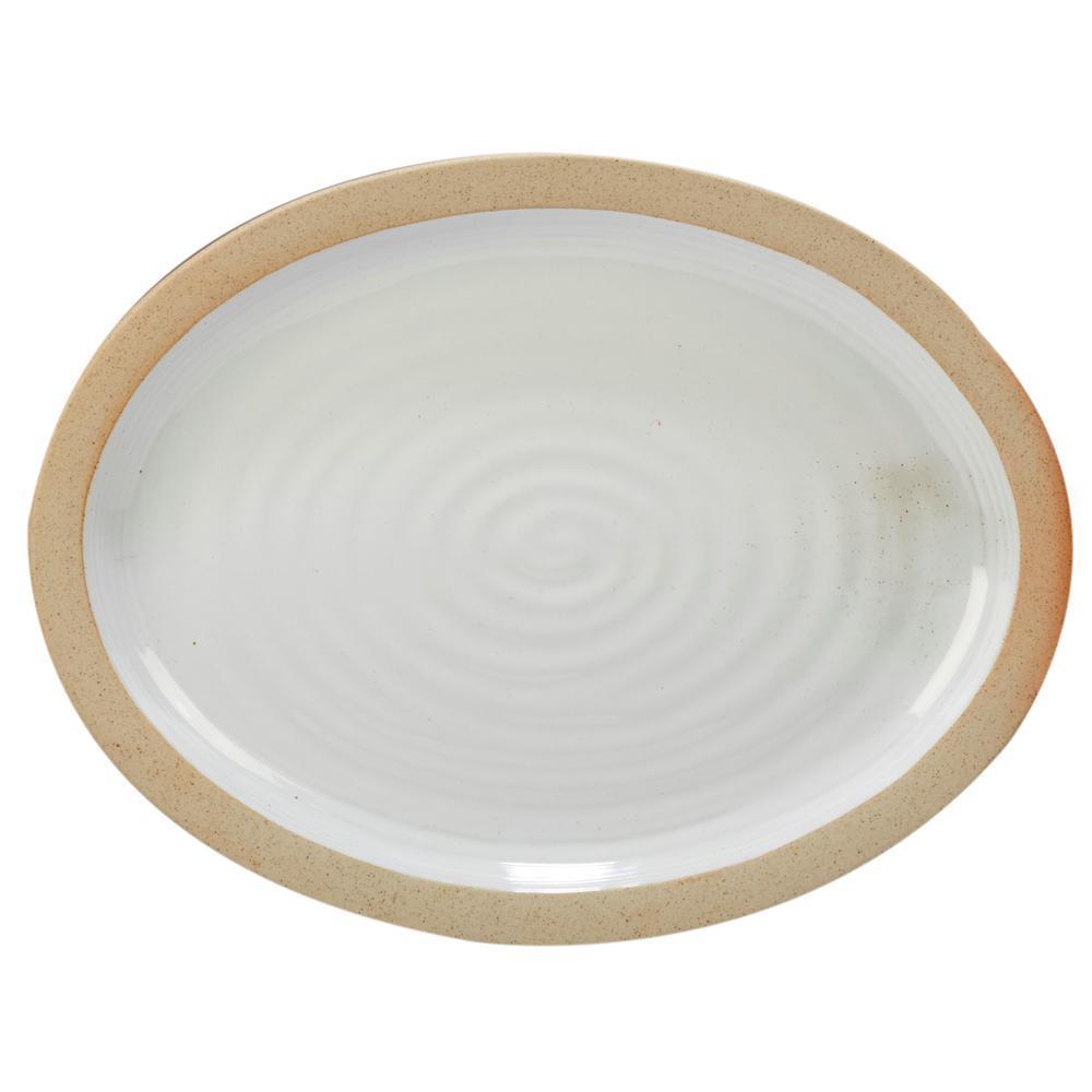 Artisan Multi-Colored 16 in. x 12 in. Ceramic Oval Platter