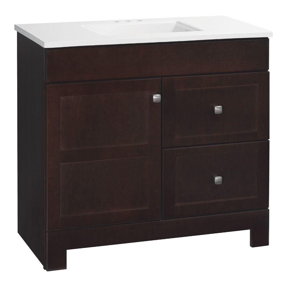 Glacier Bay Artisan 36.5 in. W Bath Vanity in Java with Cultured Marble Vanity Top in White with White Sink