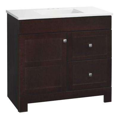 Artisan 36.5 in. W Bath Vanity in Java with Cultured Marble Vanity Top in White with White Basin