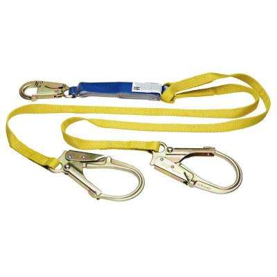 Upgear 6 ft. DeCoil Twinleg Lanyard (DCELL Shock Pack, Snap Hook, Rebar Hook, 1 in. Web)