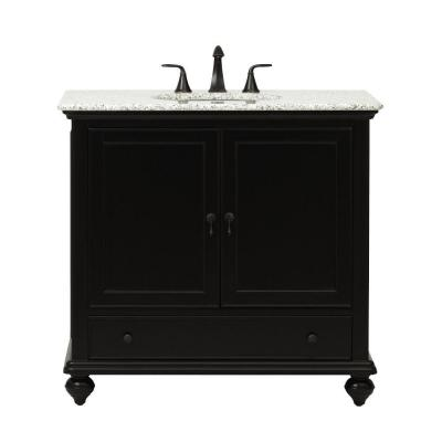 Newport 37 in. W x 21-1/2 in. D Bath Vanity in Black with Granite Vanity Top in Grey