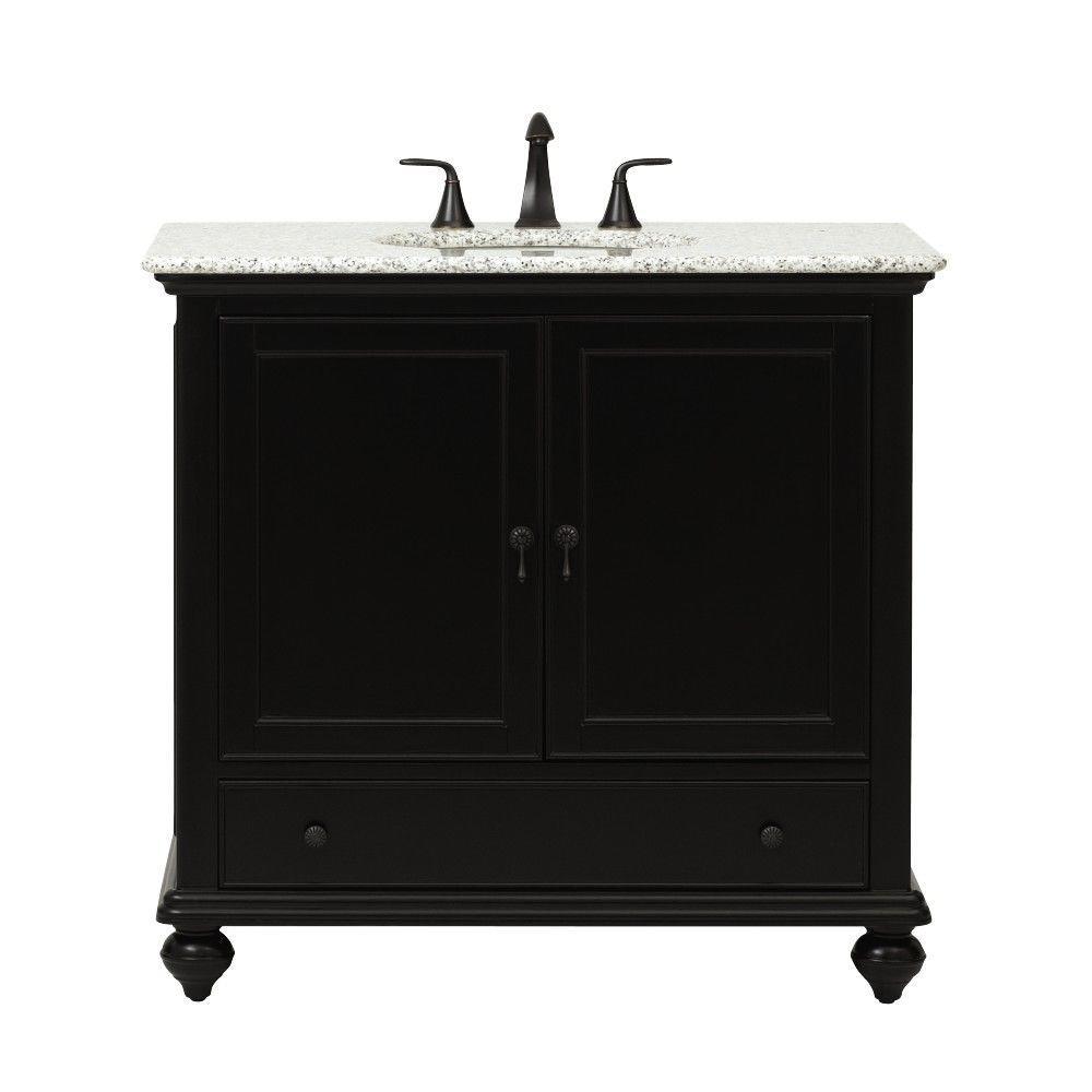 Newport 37 in. W x 21-1/2 in. D Bath Vanity in Black with Granite Vanity Top in Grey
