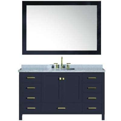 Cambridge 61 in. W x 22 in. D Vanity in Midnight Blue with Marble Vanity Top in White with White Basin and Mirror