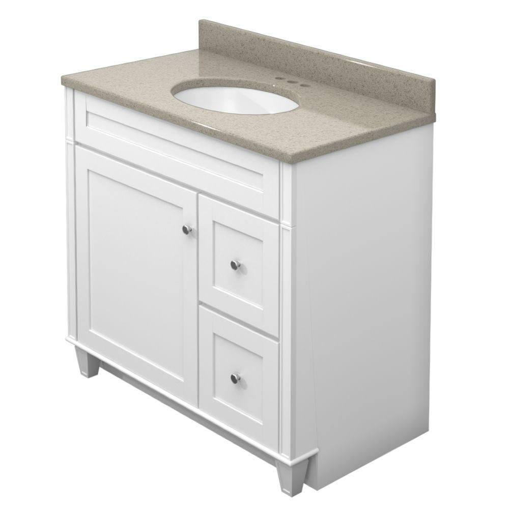 KraftMaid 36 in. Vanity in Dove White with Natural Quartz Vanity Top in Olive Ovation and White Sink