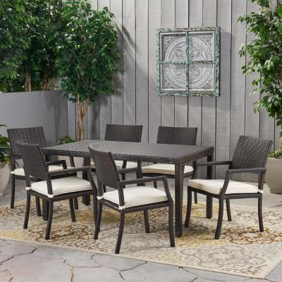 Multi-Brown 7-Piece Wicker Rectangular Outdoor Dining Set with White Cushion