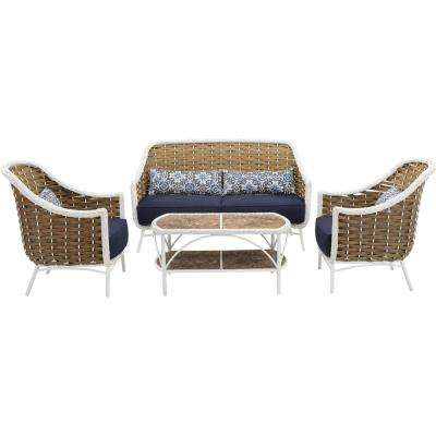 Morocco 4-Piece Aluminum Outdoor Conversation Set with Navy Blue Cushions