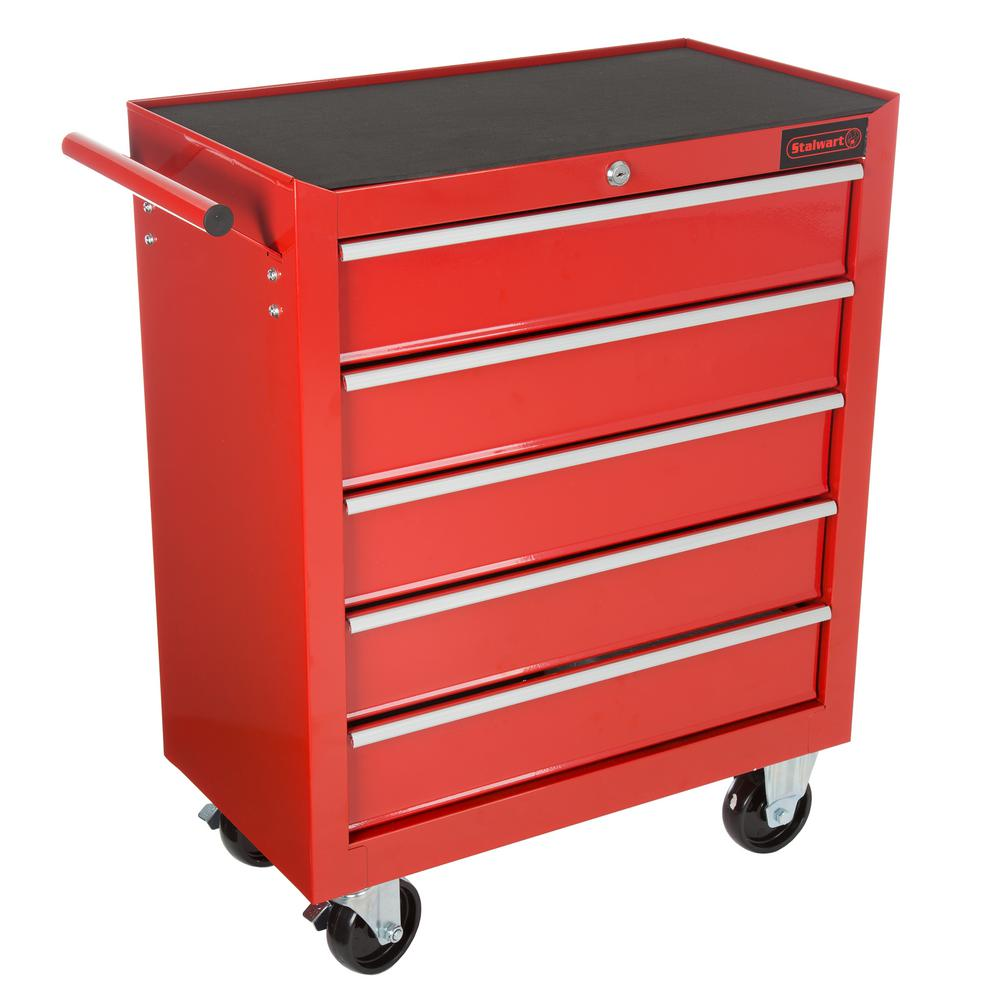 Beau 5 Drawer Roller Cabinet Tool Chest In Red