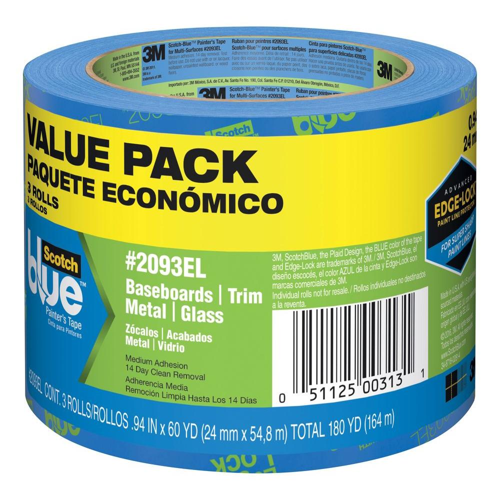 3m 2090-48 scotch blue painters masking tape 1.88 in x 60 yd 6 pack