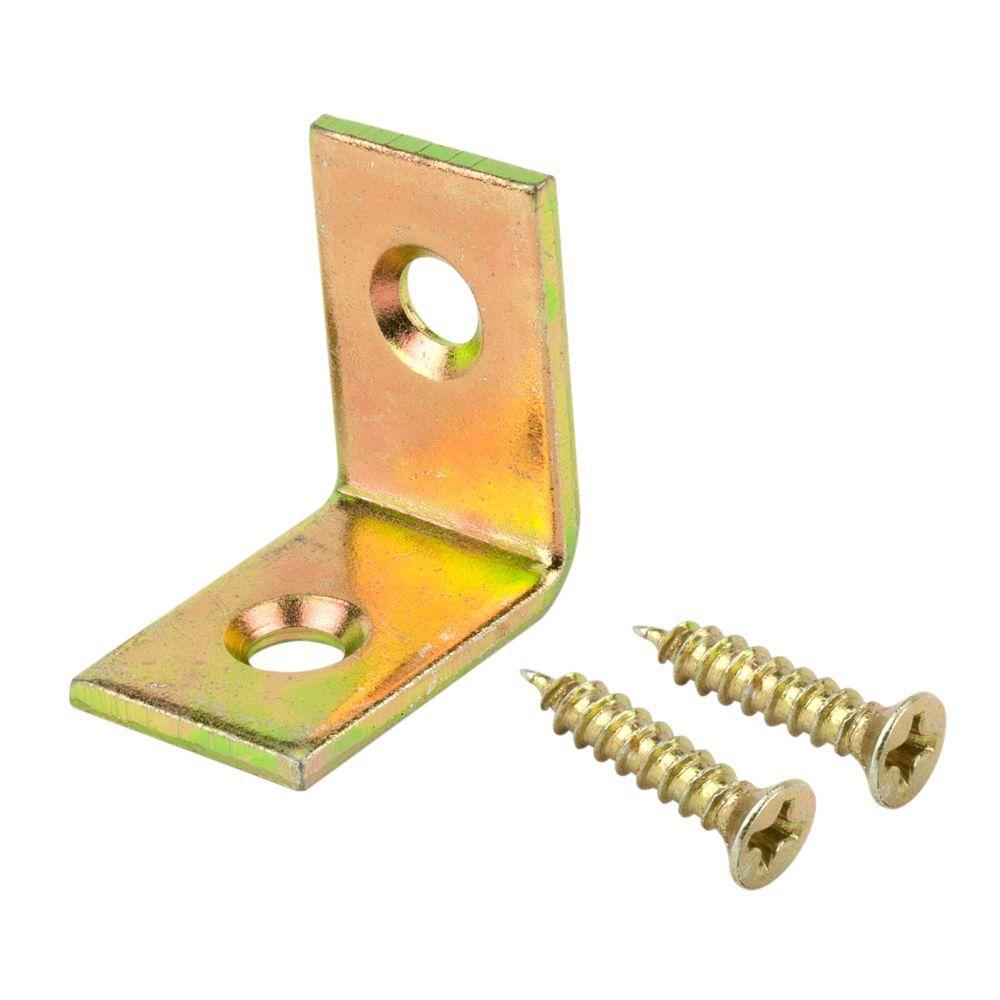 3/4 in. Satin Brass Corner Braces (4-Pack)