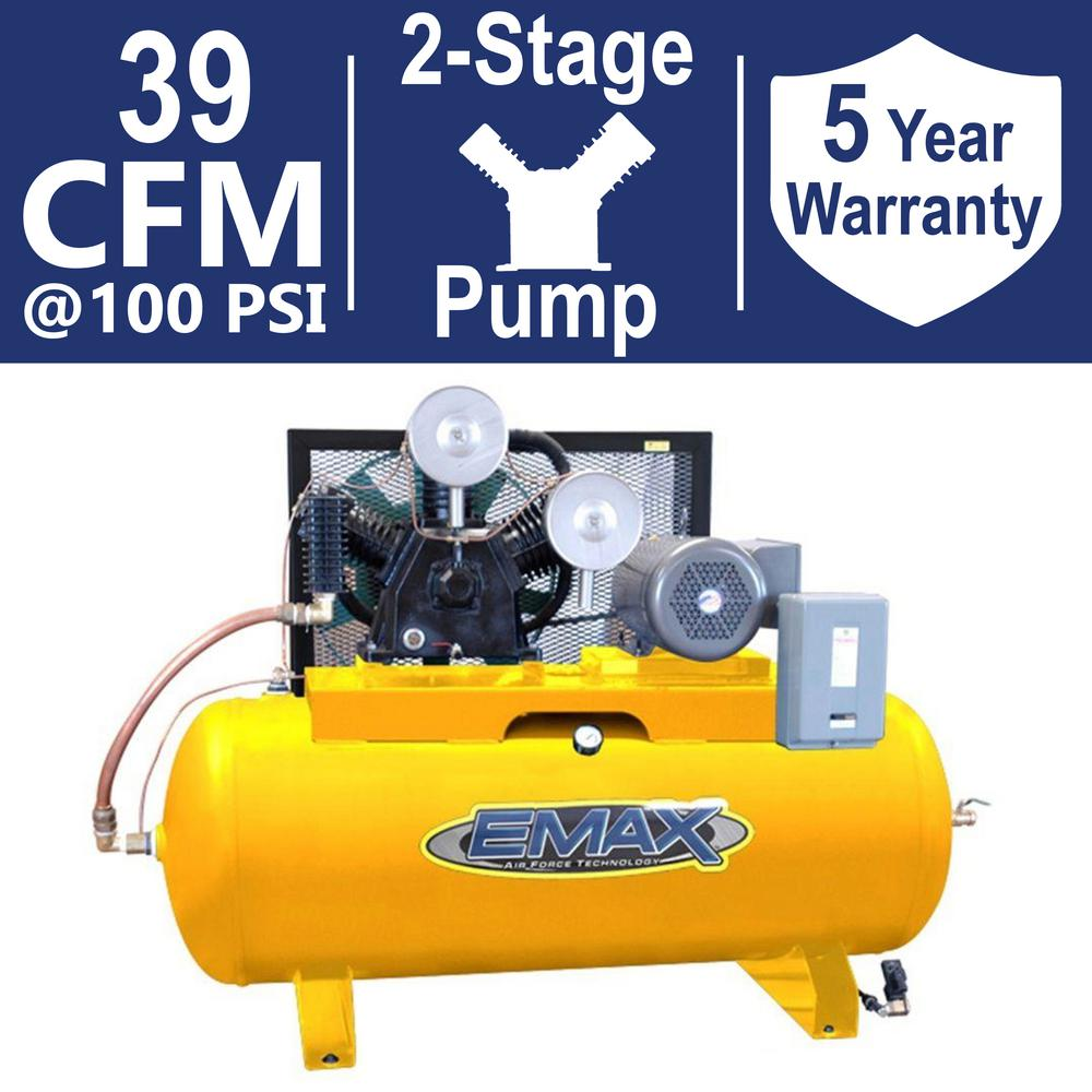 EMAX Industrial PLUS Series 120 Gal. 10 HP 3-Phase 2 Stage Stationary Electric Air Compressor