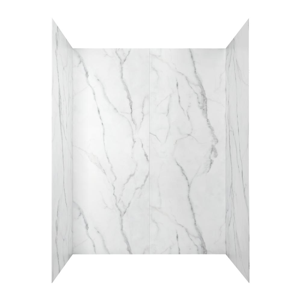 AMERICAN STANDARD Passage 60-in. x 72-in. 4-Piece Glue-Up Alcove Shower Walls in Serene Marble