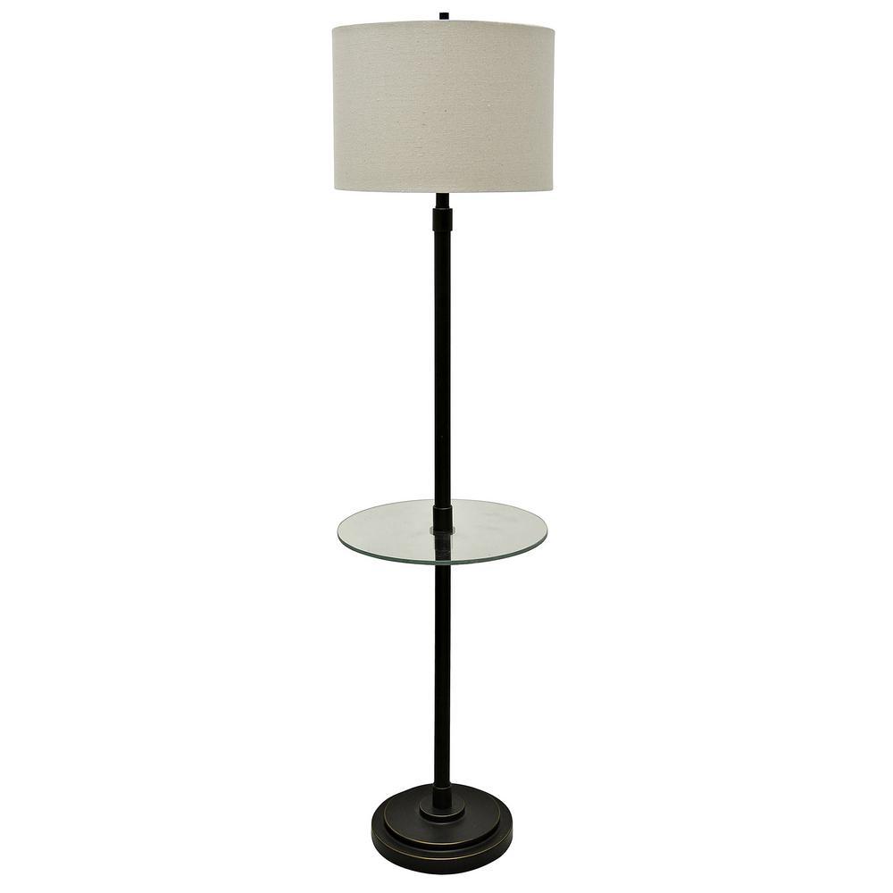 61 in. Madison Bronze Floor Lamp with White Hardback Fabric Shade