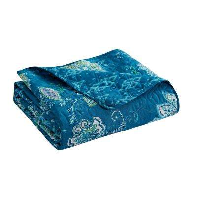 Jaipur teal 5-piece King Quilt Set
