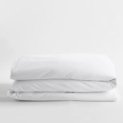 White Solid Bamboo Cotton Sateen Twin Duvet Cover