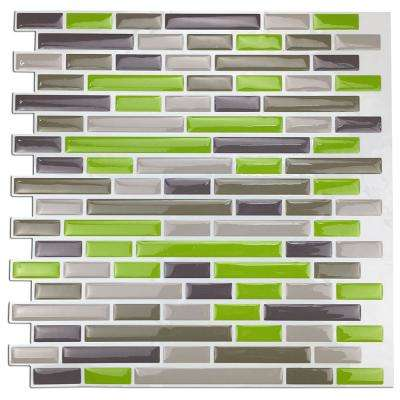 9.8 in. x 9.7 in. x 0.1 in. Peel and Stick Vinyl Kitchen Backsplash Tile Sticker Smart Brick in Green (10-Tiles)