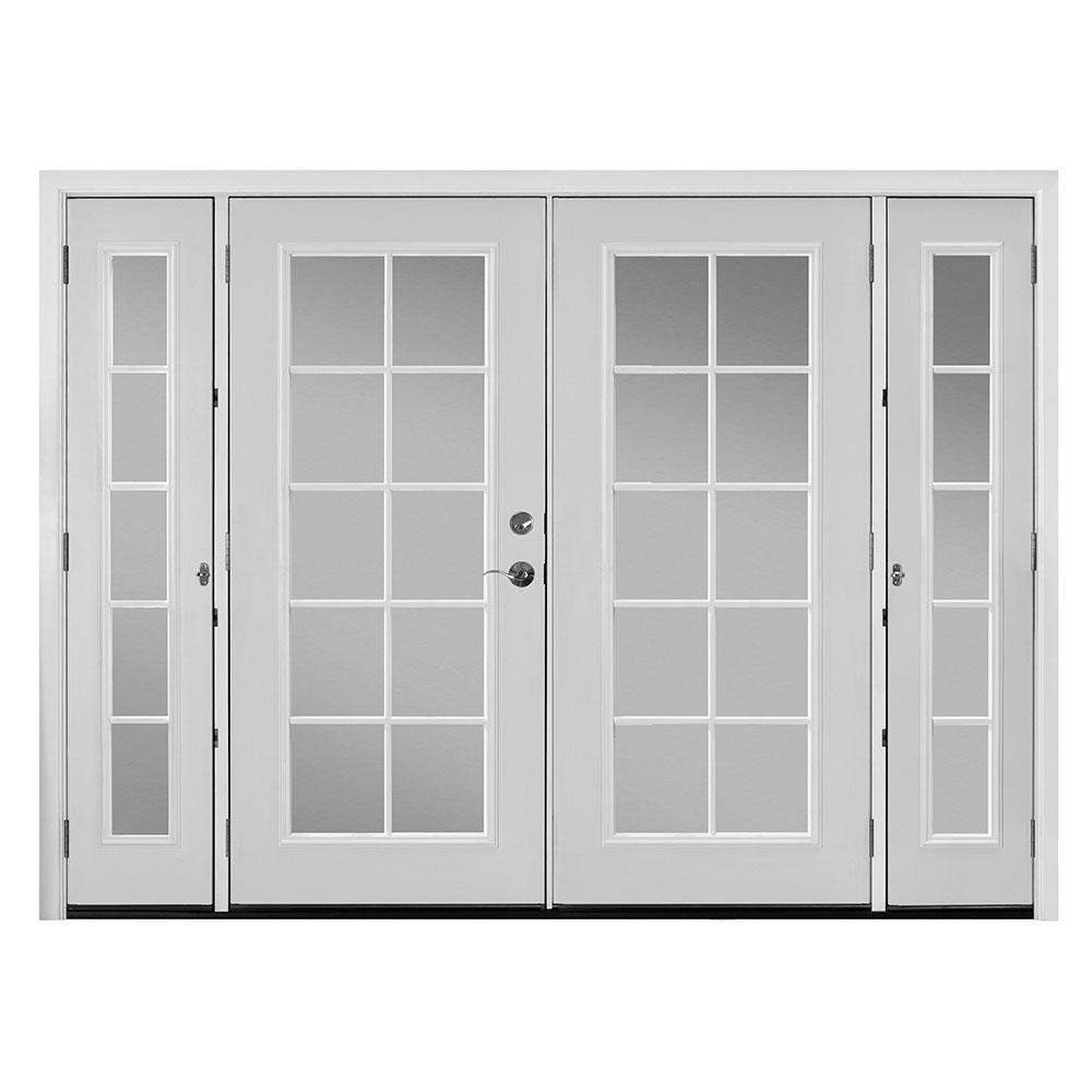 Masonite 96 In X 80 In Primed White Steel Prehung Right Hand Inswing 10 Lite Clear Glass Patio Door With Brickmold 524334 The Home Depot