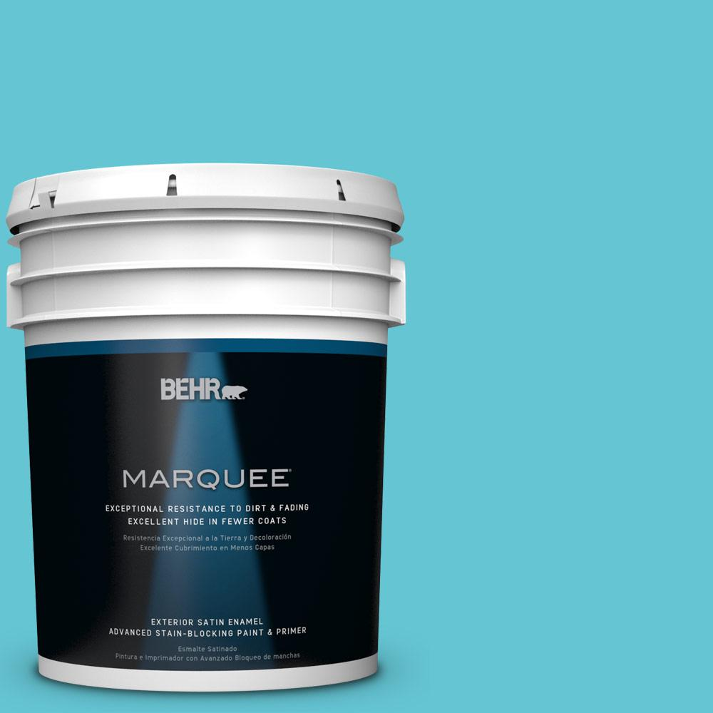 BEHR MARQUEE 5-gal. #P470-4 Paradise Sky Satin Enamel Exterior Paint