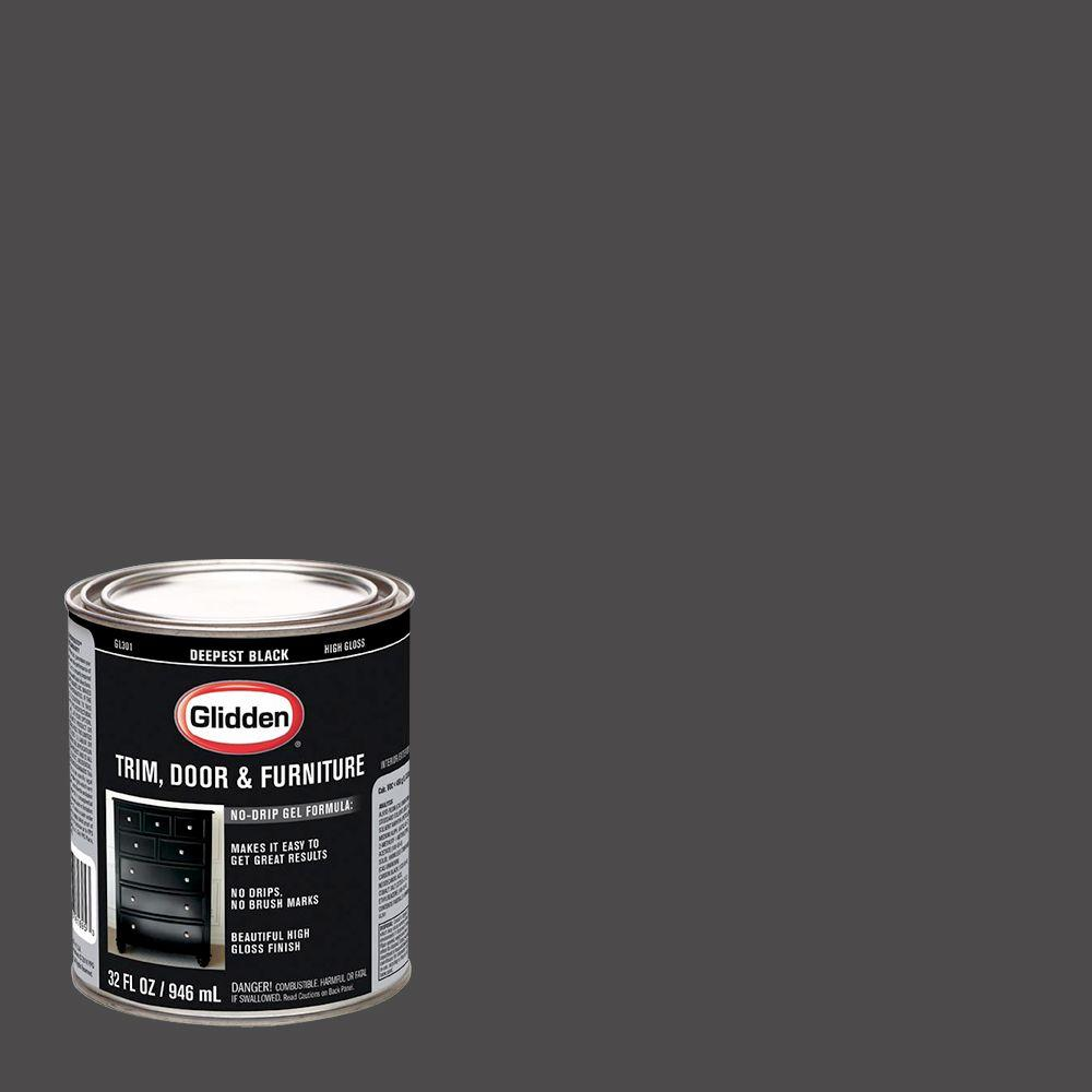 Glidden Trim and Door 1 qt. Deepest Black Gloss Interior/...