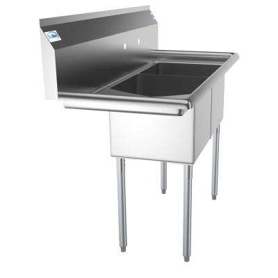 Freestanding Stainless Steel 48 in. 2-Hole Double Bowl Commercial Kitchen Sink Left Drainboard