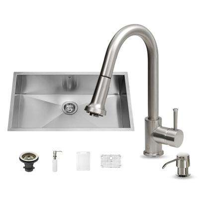 All-in-One Undermount Stainless Steel 30 in. Single Bowl Kitchen Sink in Stainless Steel
