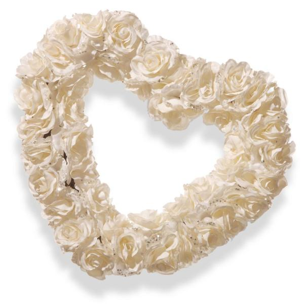 National Tree Company 17 in. White Rose Heart Wreath RAW-HQ05A-1