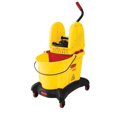 Wave Brake 35 Qt. Dual Water Down-Press Wringer and Mop Bucket Combo with Quiet Dolly