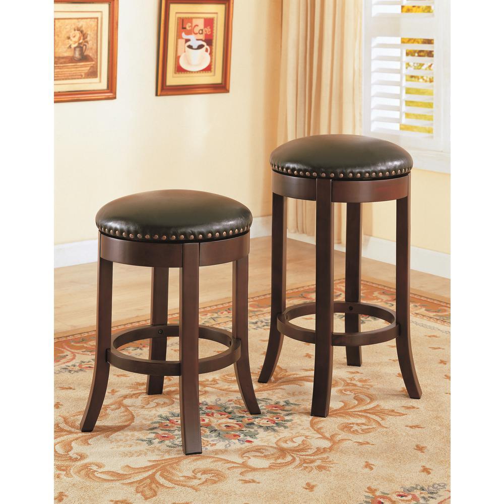 H brown black swivel backless bar stool set of 2