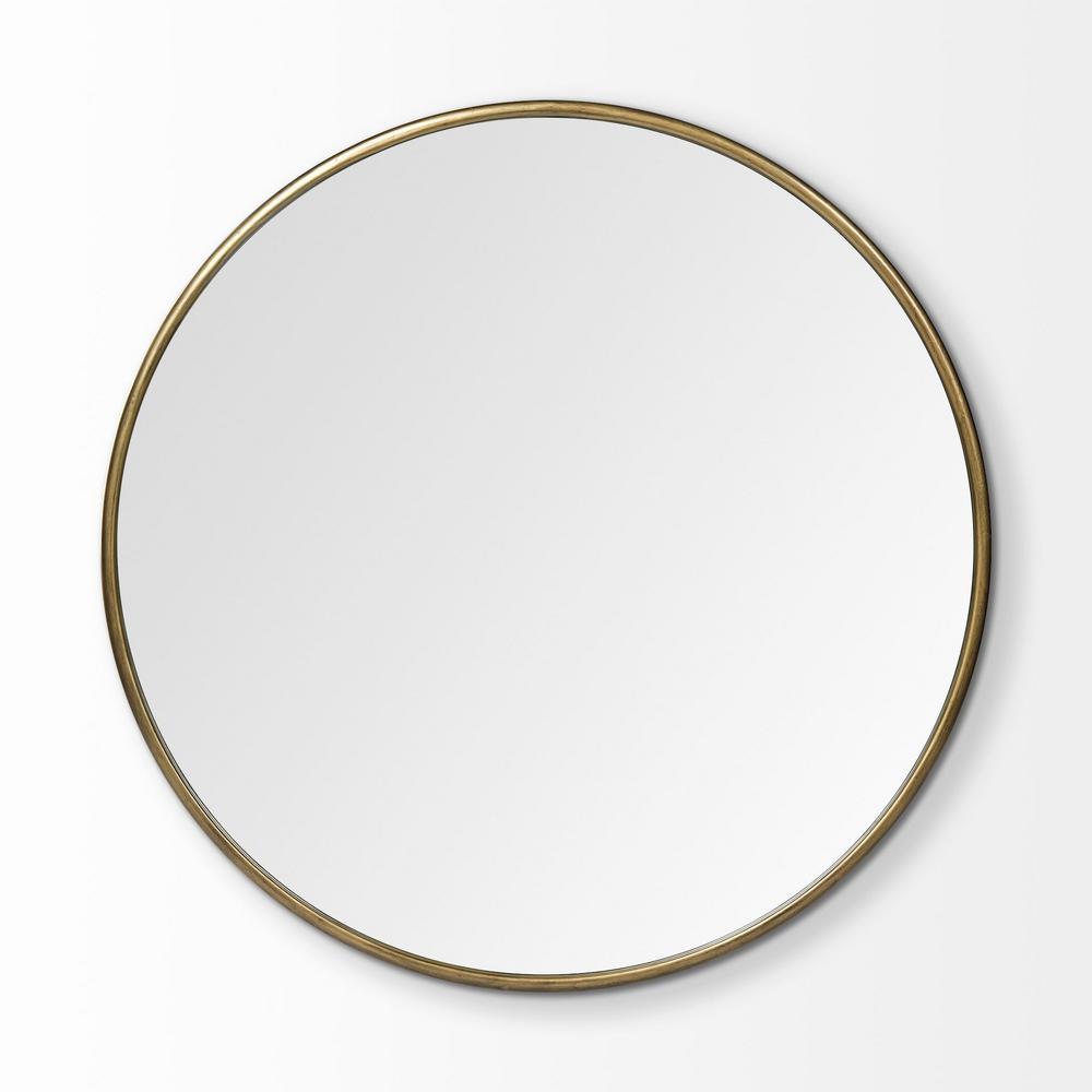 Large Round Gold Modern Mirror (47.2 in. H x 47.2 in. W)