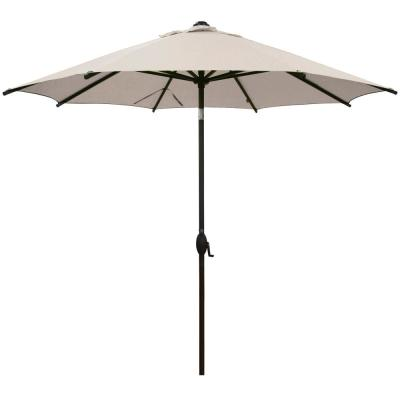 9 ft. Market Patio Umbrella Steel Pole with Auto Tilt and Crank, Beige (8-Ribs)