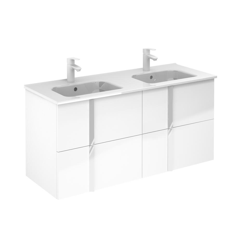 ROYO Onix 48 in. W x 18 in. D Vanity with Drawers in White with Vanity Top in White Ceramic Basin
