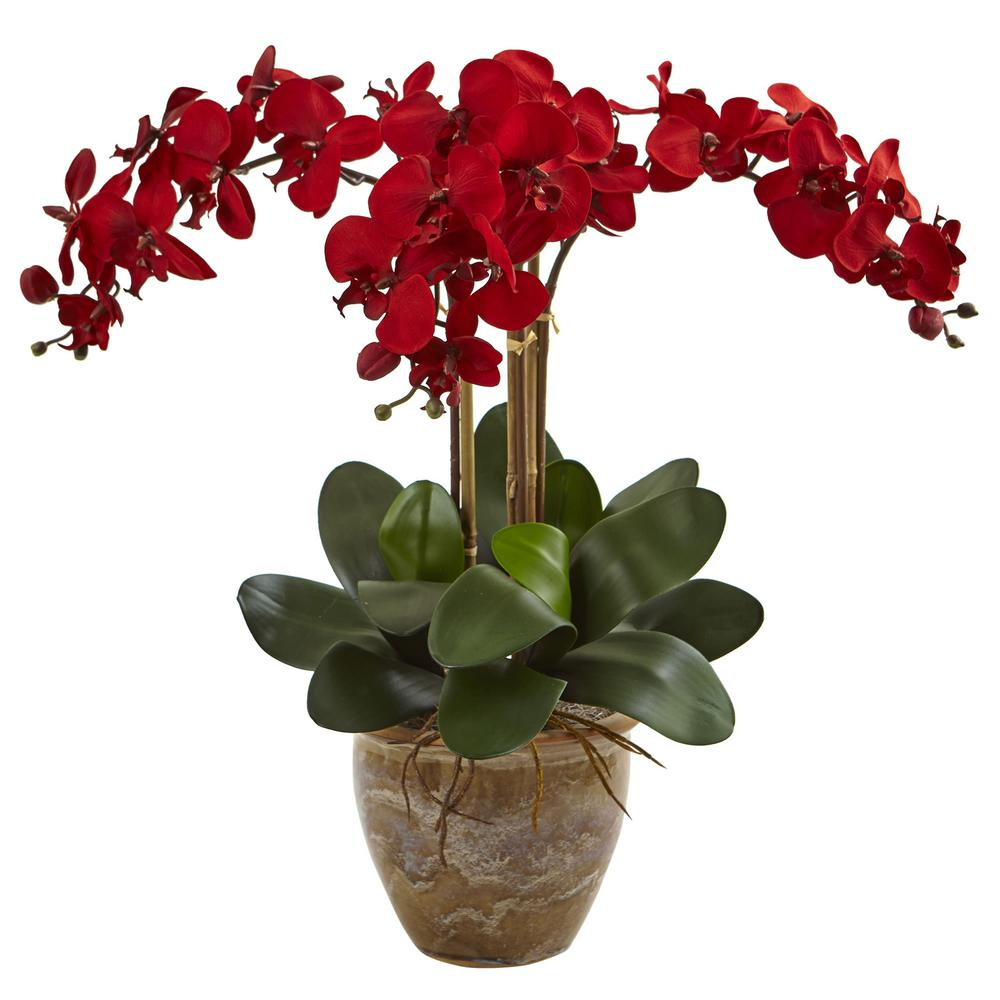 Nearly Natural Triple Stem Red Phalaenopsis Silk Arrangem...