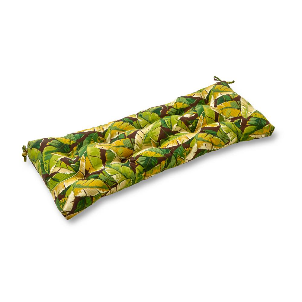 Greendale Home Fashions Palm Leaves Green Rectangle Outdoor Bench/Swing Cushion