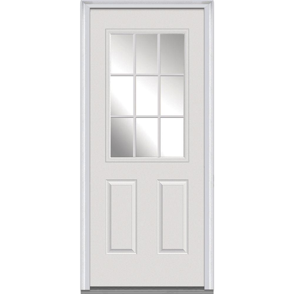 MMI Door 30 in. x 80 in. Left-Hand Inswing 9-Lite Clear Classic External Grilles Primed Fiberglass Smooth Prehung Front Door