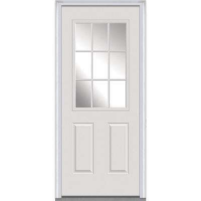 30 in. x 80 in. Left-Hand Inswing 9-Lite Clear Classic External Grilles Primed Fiberglass Smooth Prehung Front Door