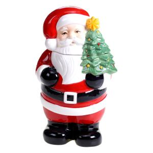 Retro Christmas 3-D 11.25 inch Santa Cookie Jar by